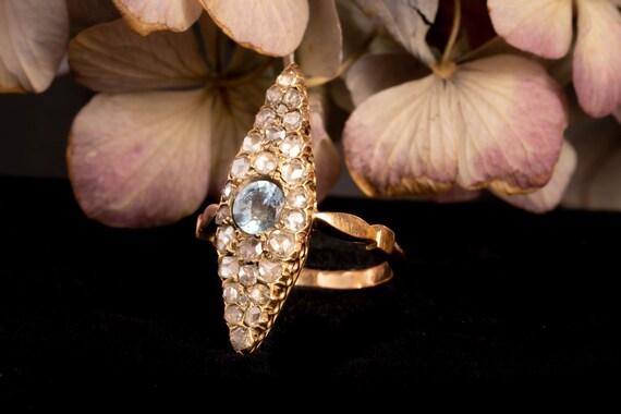 Antique Victorian Navette Aquamarine and Diamond … - image 3