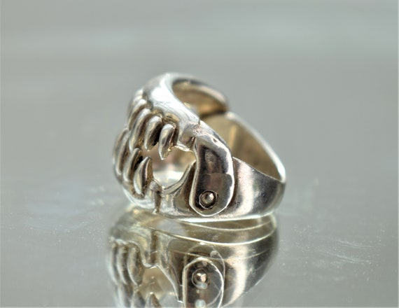 Large Silver Jaws Ring, Unisex Silver Teeth Ring,… - image 4