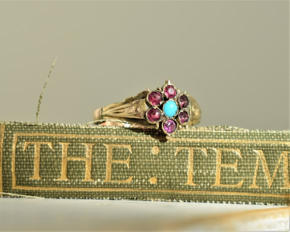 Antique Garnet Paste and Turquoise Ring Antique Ye