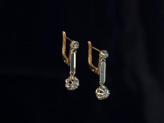 Antique Edwardian Diamond Earrings, French Antique
