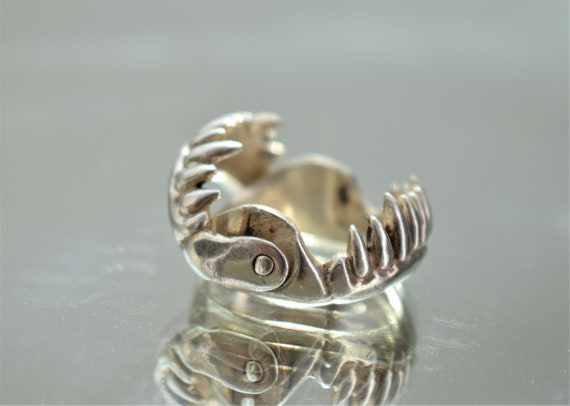 Large Silver Jaws Ring, Unisex Silver Teeth Ring,… - image 8