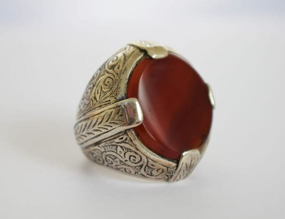 Vintage Silver Ottoman Carnelian Ring, Unisex Sign