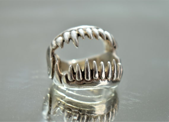 Large Silver Jaws Ring, Unisex Silver Teeth Ring,… - image 7
