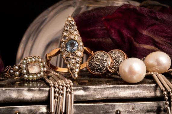 Antique Victorian Navette Aquamarine and Diamond … - image 10