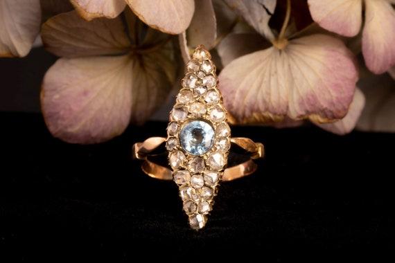 Antique Victorian Navette Aquamarine and Diamond … - image 2