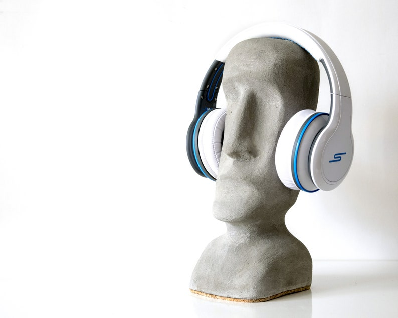 Concrete headphone stand Moai statue style Easter island cork bottom pad  cement beton sculpture anti scratch surface universal gift idea