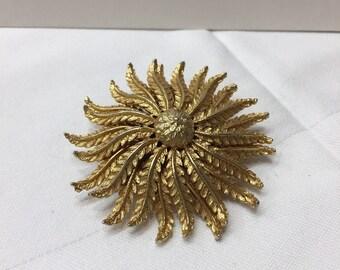 Vintage Fern Leaf Brooch Gold Tone Flower