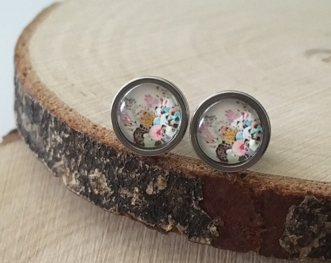 Stud Earrings - Stud Earrings - glass cabochon - surgical steel earrings - 8mm