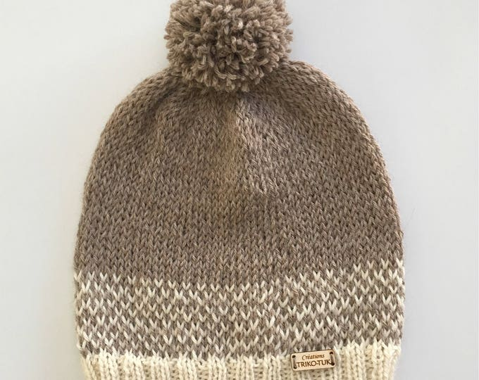 100% alpaca hand - knitted Pompom Beanie knitted Hat