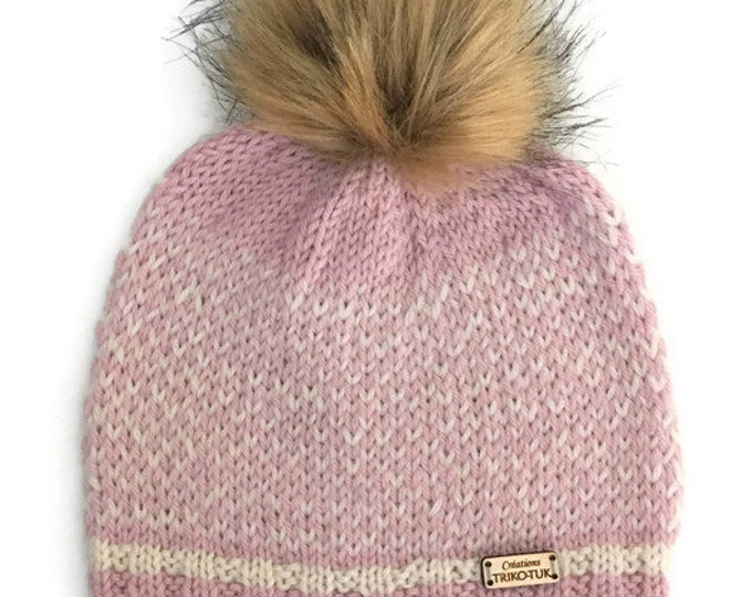 X-Small girl wool with synthetic fur Pom Pom knit hat