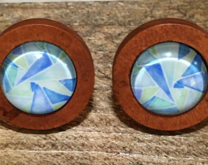 Stud Earrings - Stud Earrings - earrings - glass cabochon - stainless steel-wood