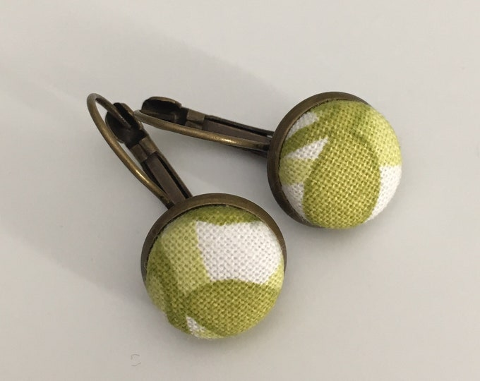 -Sleeper - finished bronze earrings - Handmade fabric cabochon
