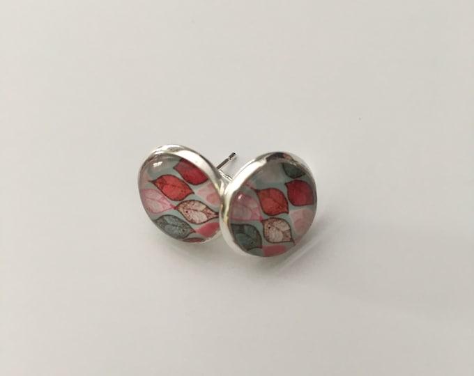 Stud Earrings small leaf - Stud Earrings - glass cabochon earrings - stainless steel.