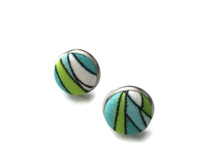 Stud Earrings - Stud Earrings - earrings cabochon fabric hand - made stainless steel-