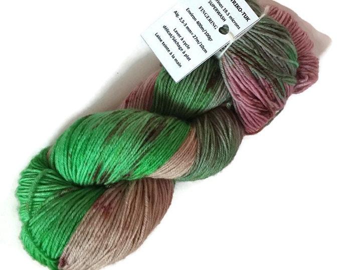 Hand dyed 100% Superwash Merino 19.5 micron Fingering wool