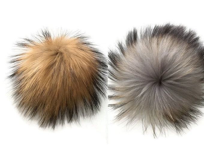 Removable fur - fur - Pompom for Hat - raccoon fur - Pompom raccoon fur Pompom