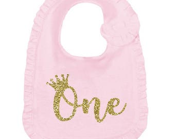 One year old girl birthday - Pink and gold 1st birthday bib - Crown  Princess First Birthday girl outfit - Cake smash bib - White gold Bib a46585a0d