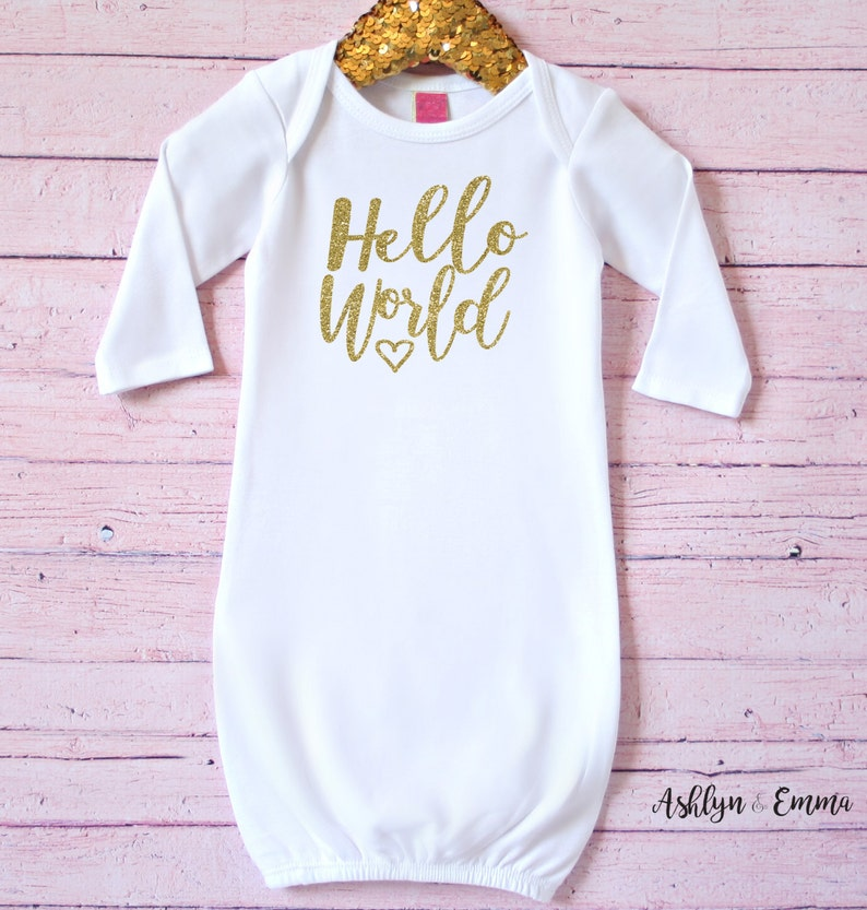 d7742c696 Hello World infant gown Baby shower gift Baby gift | Etsy