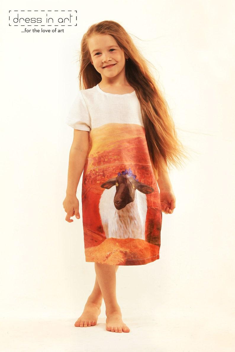 201e039f8410 Travel lady dress Kids clothing sheep printed dress girl | Etsy