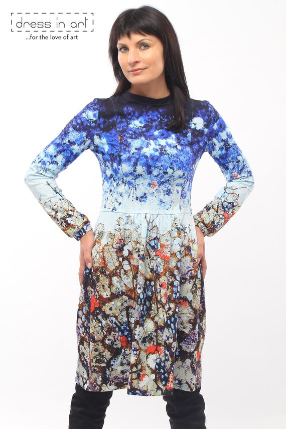 e3167d1bf18f Colorful painted dress Cotton midi dress Navy blue boho dress