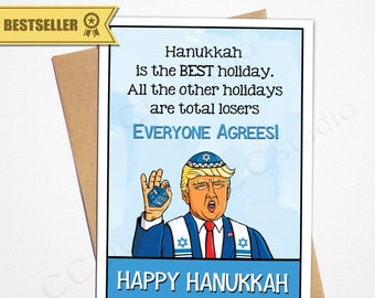 Funny Trump Hanukkah Card Bestselling Jewish Greeting Cards Lover Hater For Him Her Boyfriend Husband Wife