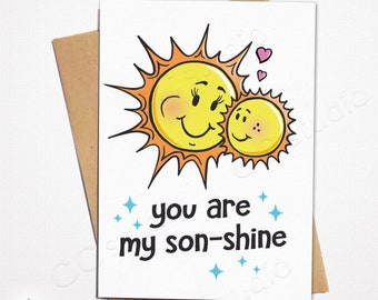 You Are My Sonshine Sunshine Son Birthday CardMom CardCard From MomHappy Cards For SonMom And SonBestselling