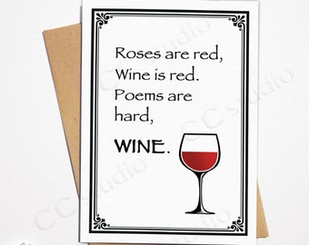 Wine Poem Lovers Roses Are Red Valentines Card Birthday Funny For Him Her Blank CC Studio Cards