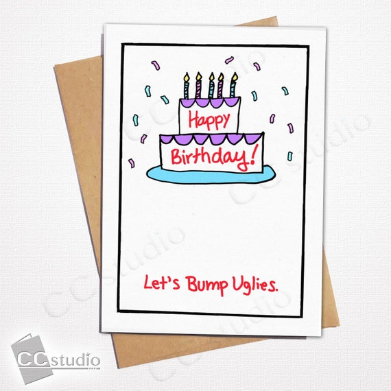 Funny cards birthday cards bump uglies cheeky cards happy etsy image 0 m4hsunfo