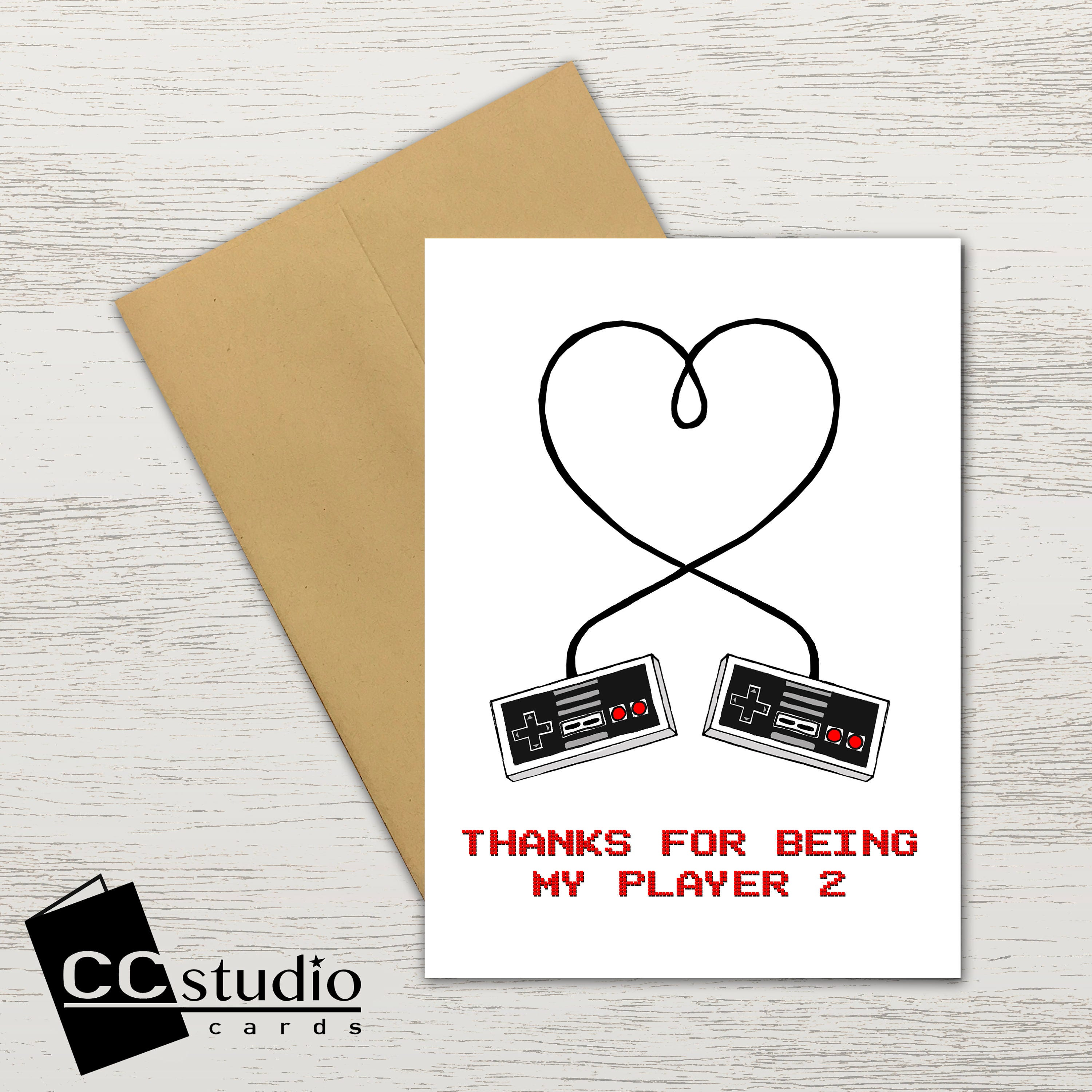 Thanks For Being My Player 2 Valentines Day Card Birthday Card