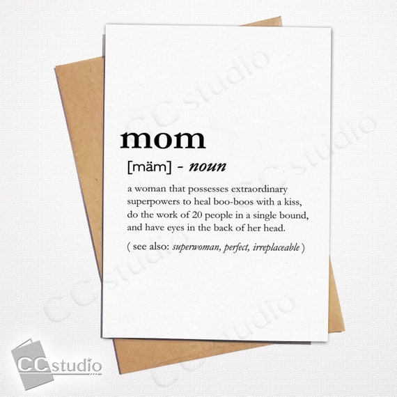 Mom Definition Card Mothers Day Cards For Mother Love You Birthday Anniversary GiftGreeting