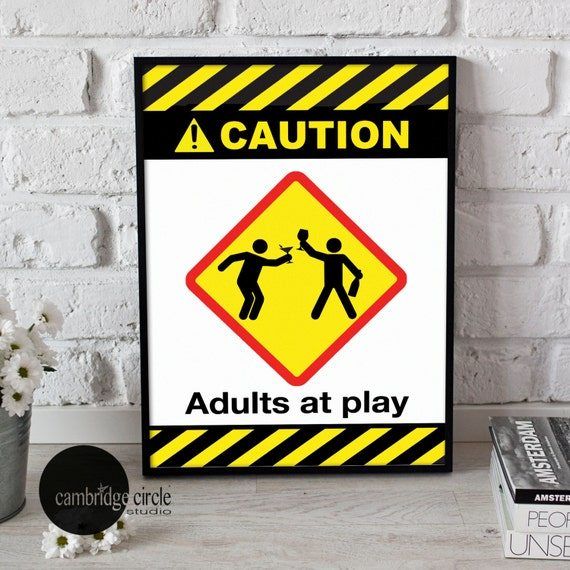 Caution Adults at Play Home Decor Wall Art Bar Art Alcohol