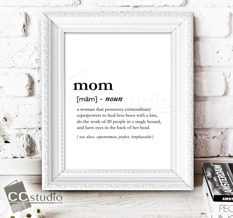 ba1a31d4 Mom Definition Print Mother's Day Gift Mom Birthday | Etsy