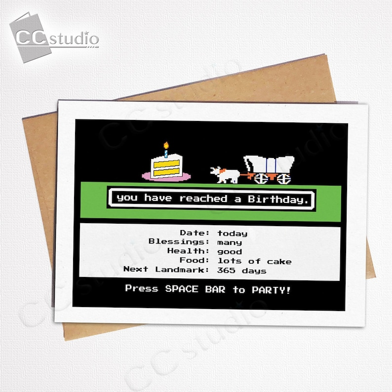 Video Game Card, Vintage Gamer Card, Oregon Trail Card, Funny Friend Card,  Video Game Birthday, Funny Birthday Cards