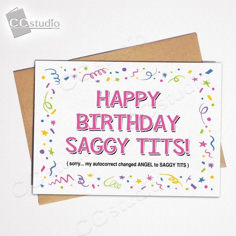 Happy Birthday Saggy Tits Insult Card Funny