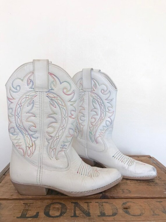 1980's white leather western boots