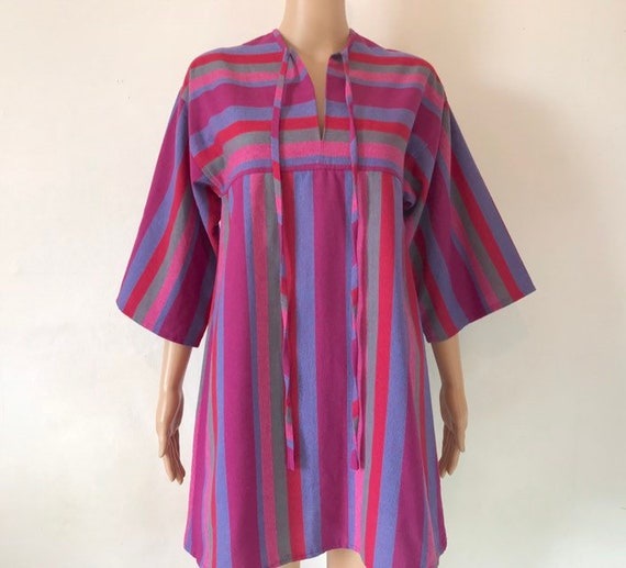 vintage. 1970s boho striped dress