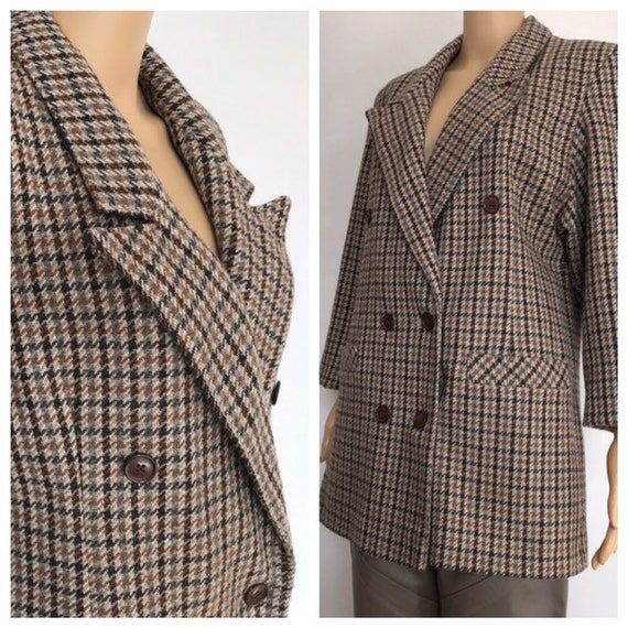 80's double breasted tweed blazer