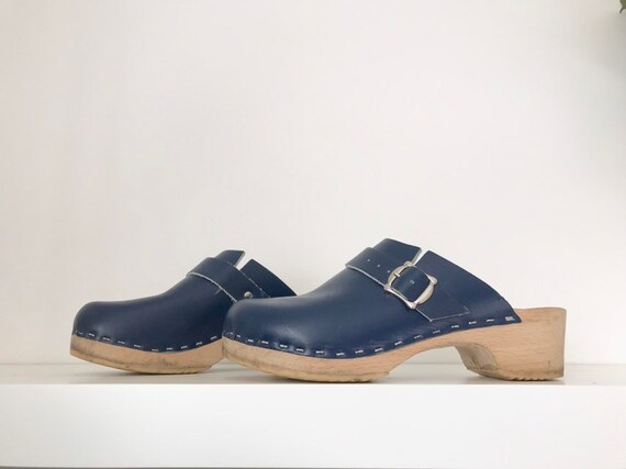 1970's royal blue leather clogs
