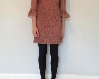 vintage. 1960s mocha lace dress