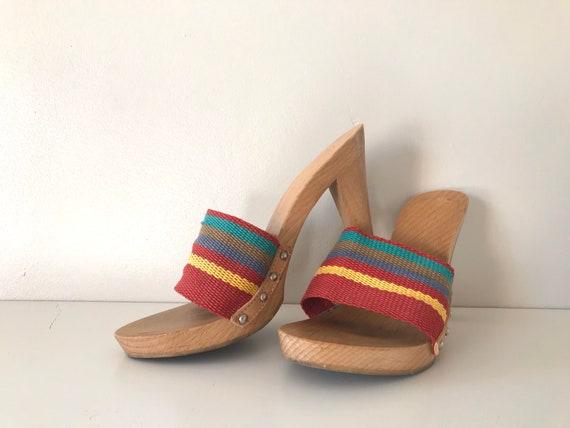 1980's rainbow wooden mules