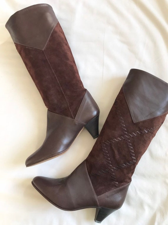 1970's chestnut brown leather and suede boots