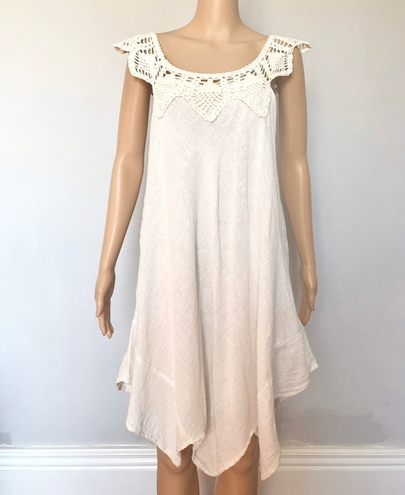 1970s gauze crochet hankie dress