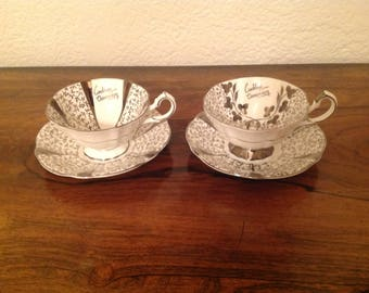 Queen Anne anniversary cabinet cups and saucers 1980's