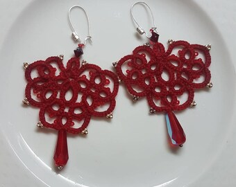 Red Thread tatting Earrings
