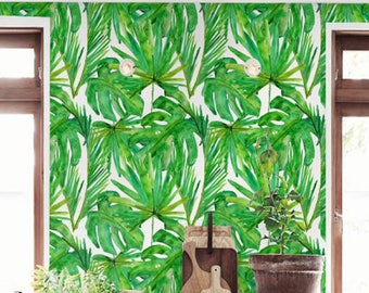 Tropical wallpaper, Removable Wallpaper, BW005