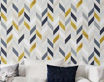 Bohemian decor, Herringbone pattern, Removable wallpaper, Wall sticker, BW014