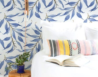 Blue watercolor leaves wallpaper, Tropical wall mural, Wall stickers, BW037