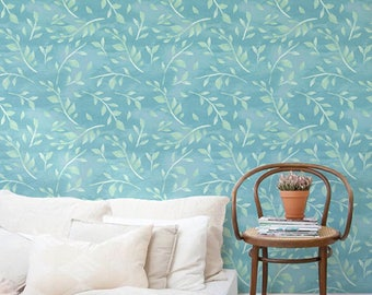 Boho decal, Leaves wallpaper, Watercolor removable wallpaper, Bohemian wall sticker, BW057