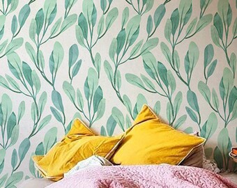 Watercolor leaves wallpaper, Botanical tempoarary wallpaper, Leaves wall decal, BW052