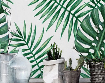 Verde acuarela monstera y Palma hoja autoadhesiva papel pintado, papel pintado para inquilinos, etiqueta de la pared, BW137